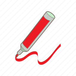 cartoon, highlighter, ink, marker, object, pen, red icon