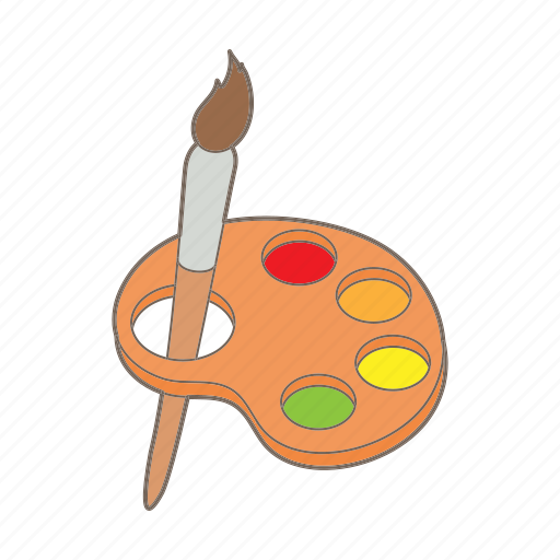 art, brush, cartoon, color, education, paint, watercolor icon