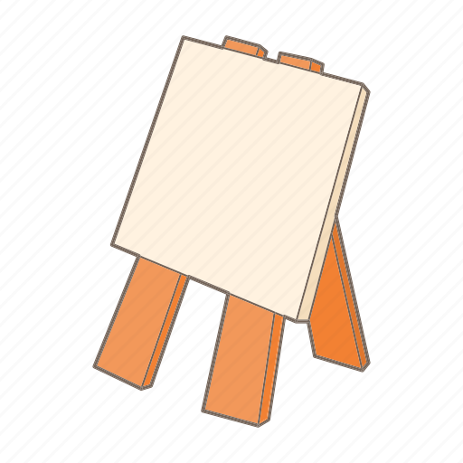 art, blank, canvas, cartoon, easel, paper, wood icon