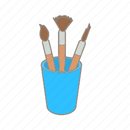 art, brush, cartoon, glass, paint, sketch, tool icon