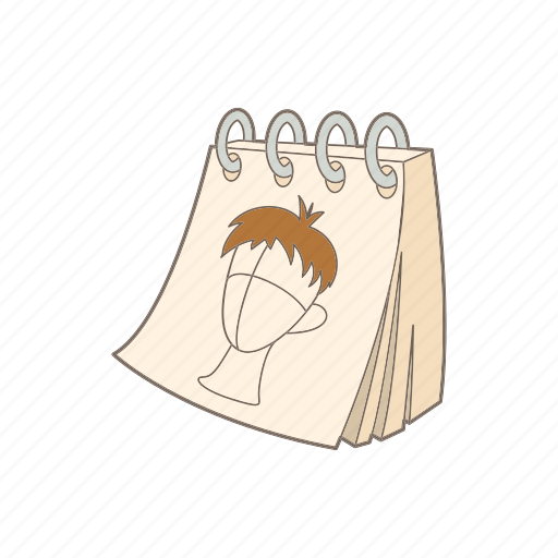 cartoon, face, note, notebook, page, sketch, spiral icon