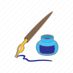 blue, cartoon, classic, education, ink, inkstand, pen icon