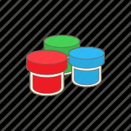 art, blue, cartoon, color, gouache, jar, paint icon