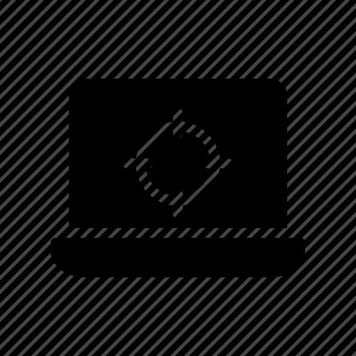 computer, device, focus, laptop, target icon