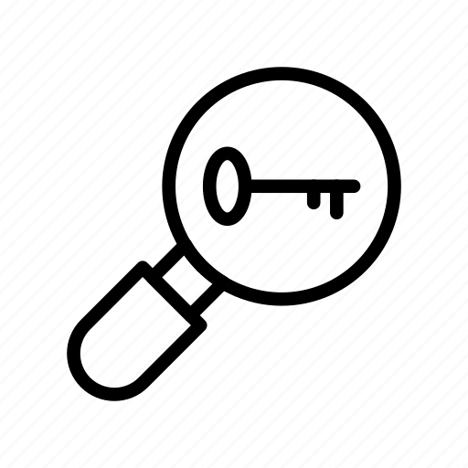 find, glass, key, magnifier, search icon