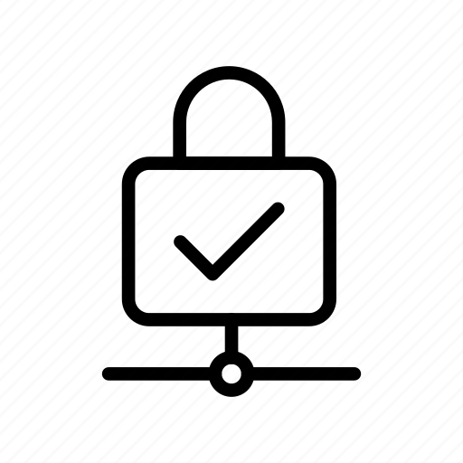 lock, private, protection, secure, tick icon