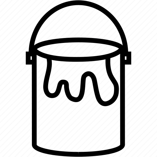 bucket, can, paint, stain icon