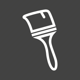 brush, home, paint, painter, pots, renovation, white icon