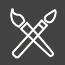 brush, brushes, paint, paintbrush, painter, tools, two icon