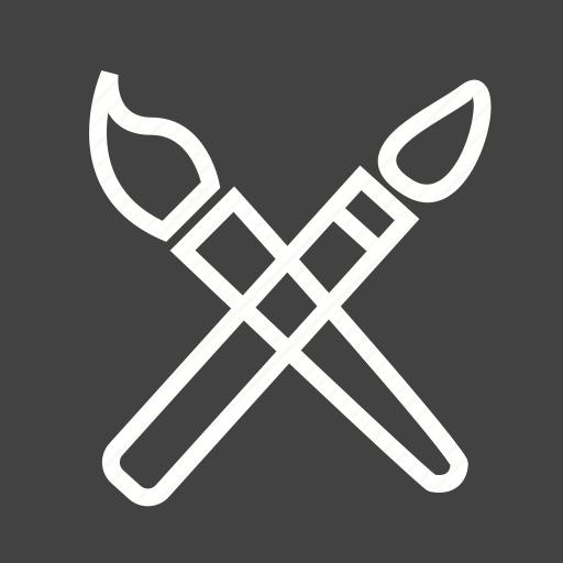 brush, brushes, paint, paintbrush, painter, tools, two icon