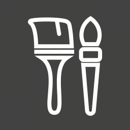 brush, brushes, color, decorating, home, paint, yellow icon