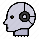 artificial, artificial intelligence, head, machine, robotics icon