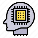 artificial, artificial intelligence, chip, head, machine, processor, robotics icon