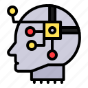 ai, artificial, artificial intelligence, computer, head, machine, robotics icon