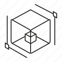 box, cube, development, dimension, magnitude icon