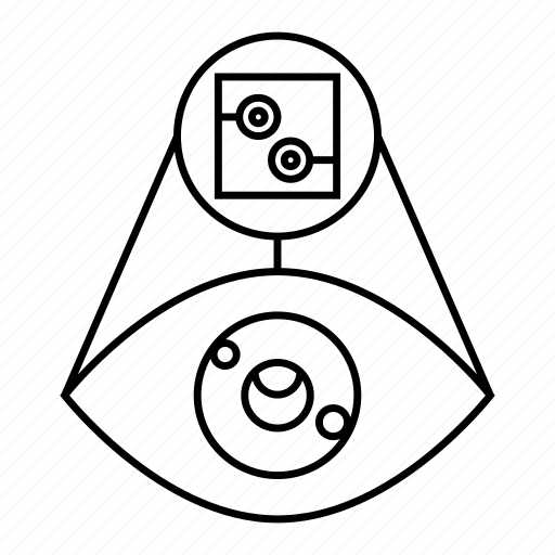 chip, cybernetics, eye, iris scan, scan, security, sensor icon