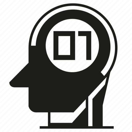android, artificial intelligence, binary, digital, head, humanoid, robot icon