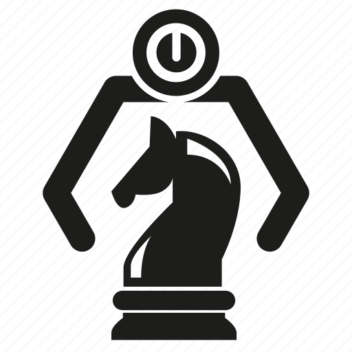 artificial intelligence, chess, horse chess, humanoid, learning machine, program, robotics icon