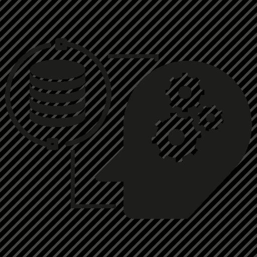 analytics, artificial intelligence, data, head, humanoid, robot, server icon