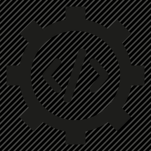 coding, cog, gear, program icon