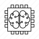 brain, device, intelligence, microchip, processor, smart icon