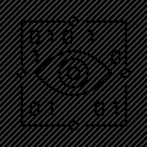 binary, coding, cyber, digital, eye can, iris scan, security icon