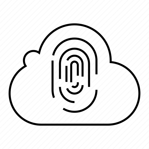 cloud, cloud computing, finger, network, scan, security, sensor icon