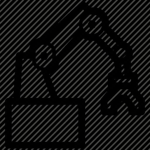 arm, equipment, hand, industrial, power, robot, robotic icon