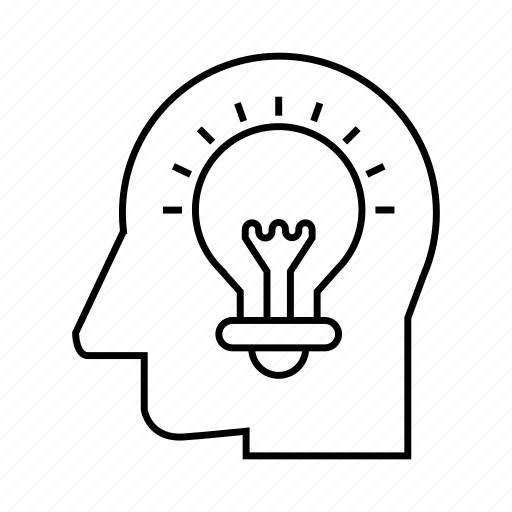 artificial intelligence, head, idea, light bulb, smart, think icon
