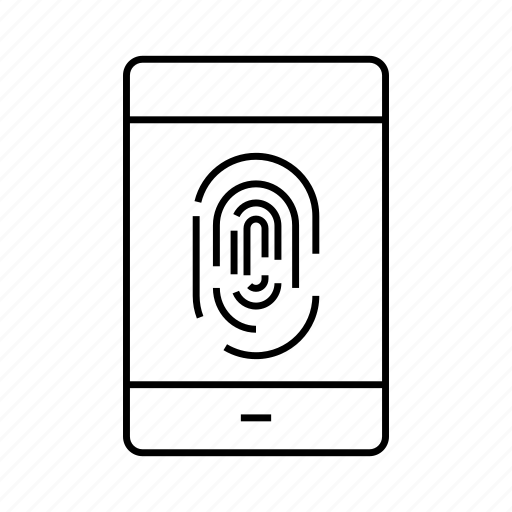 fingerprint, mobile, security, sensor, smart phone icon
