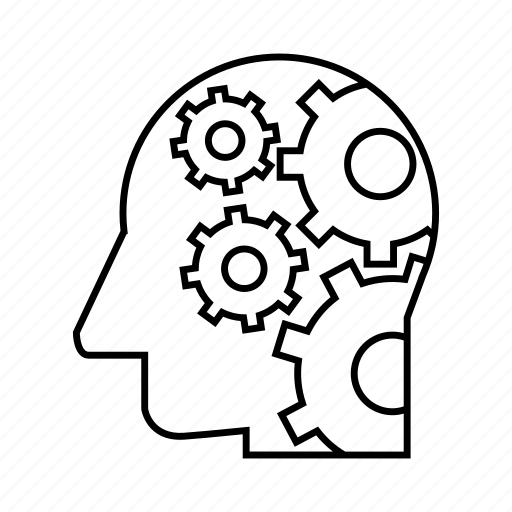 android, cog, cybernetics, gear, head, humanoid, robot icon
