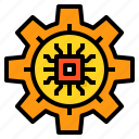 artificial, future, intelligence, machine, processing, technology icon