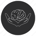 artificial, brain, hands, intelligence icon