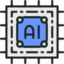 artificial, chip, circuit, digital, electronic, intelligence, processor icon