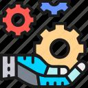 development, engineering, gear, hand, hold, intelligence, tech icon