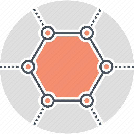 graphene, hexagon, hexagonal, hub, network icon