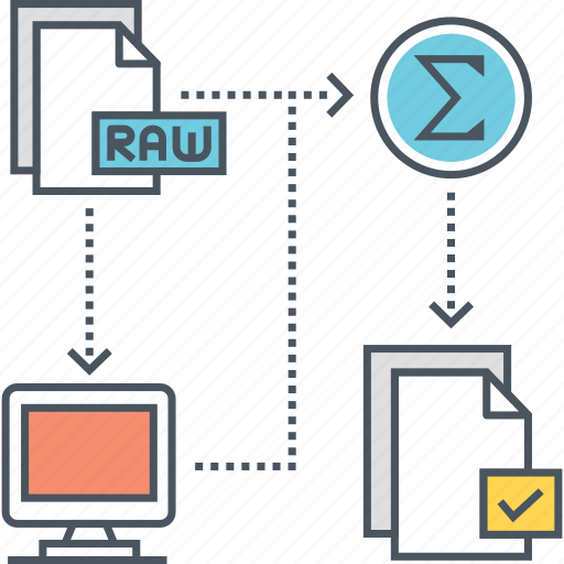 learning, process, raw data, supervised, supervised learning, system icon