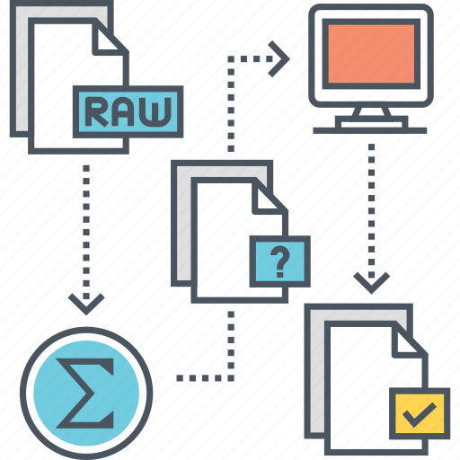 learning, process, raw data, system, unsupervised, unsupervised learning icon