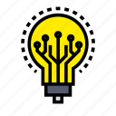 artificial, bulb, intelligence, machine, robotic, technology icon