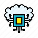 artificial, cloud, intelligence, machine, networking, robotic, technology icon