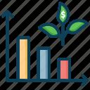 growth, low, reduce cost, smart farm, statistics icon