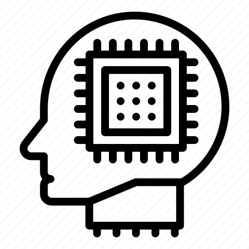 artificial, artificial intelligence, chip, head, machine, processor, robotics icon
