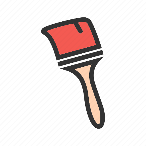 brush, bucket, home, paint, painter, renovation, white icon