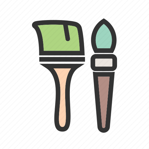 brush, color, decorating, home, paint, red, yellow icon