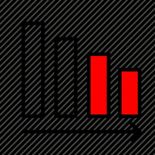 decrease, decreasing, descending, falling, statistics icon