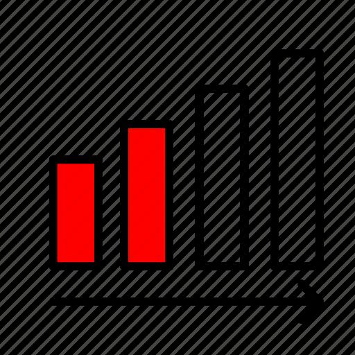 ascending, growing, increase, increasing, statistics icon