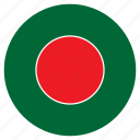 asia, bangladesh, country, flag, nation, round icon