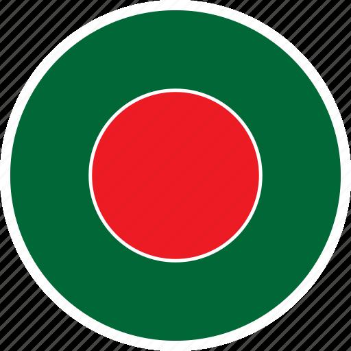 asia, bangladesh, country, flag, nation, round icon