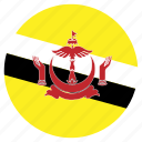 asia, brunei, country, flag, nation, round icon