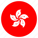 asia, country, flag, hongkong, nation, round icon